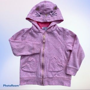George Cat Face Embroider Pink Hoodie w/Cat Ears